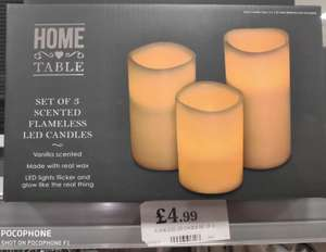 Home Table Set of 3 scented flameless led candles £4.99 @ Home bargains Liverpool