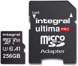 Integral 256GB Micro SD Card Premium 4K High Speed Memory Microsdxc Up To 100MB/S V30 UHS-I U3 £24 @ Amazon Dispatched from and sold by Base