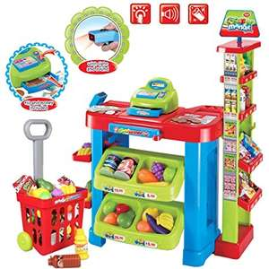 deAO SPM-2 Kids Supermarket Stall Toy Shopping Trolley and Over 30 Play Food Accessories £25.45 Amazon sold by deAO