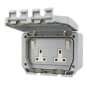 LAP 13A 2-Gang DP Switched Plug Socket with Outboard Rocker £7.99 @ Screwfix (free click+collect)
