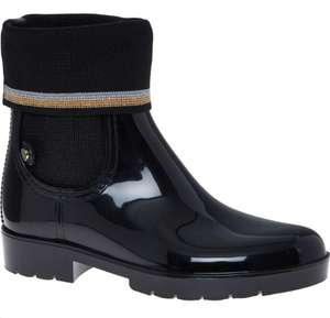 TOMMY HILFIGER Black Knitted Wellington Ankle Boots £39.99 +£1.99 click and collect @ TK Maxx