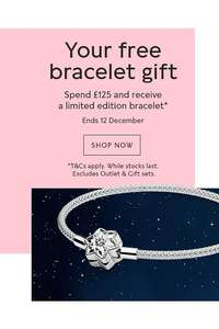 Free bracelet when you spend £125 online and instore at Pandora Shop