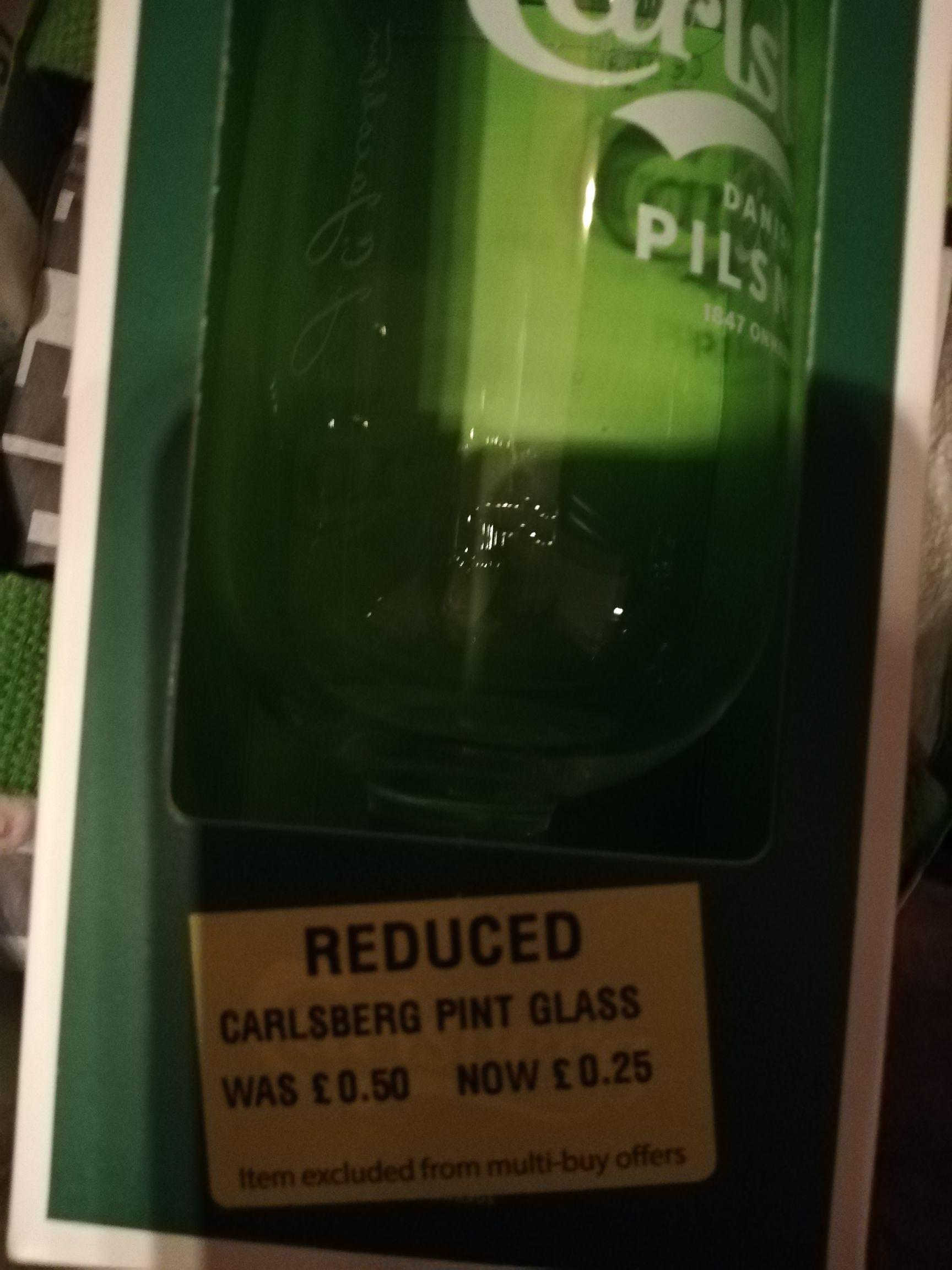 Carlsberg Pilsner branded glass £0.25 each @ Birmingham Five Ways store