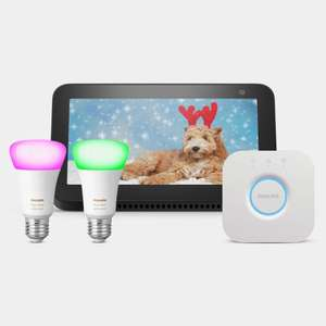 Buy the Philips Hue Mini Starter Kit for £134.99 and get a Free Amazon Echo Show 5 (worth £79.99) @ EDF