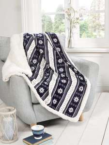 Rapport alpine fleece blanket throw in navy fairisle with free delivery £8.99 @ Styles4Homes / Amazon
