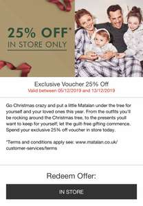 25% off Matalan In Store only 5/12-13/12 using code from app