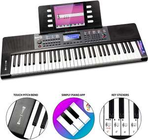 RockJam RJ461 61-Key Portable Electric Keyboard Power Supply, Sheet Music Stand, Pitch Bend and Simply Piano App - £41.99 @ Amazon