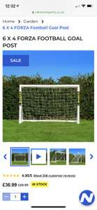 6ft X 4ft Forza Football Goal Post £36.99 @Networld Sports (£7.95 P&P)