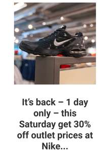 30% off everything at Nike Outlet Castleford