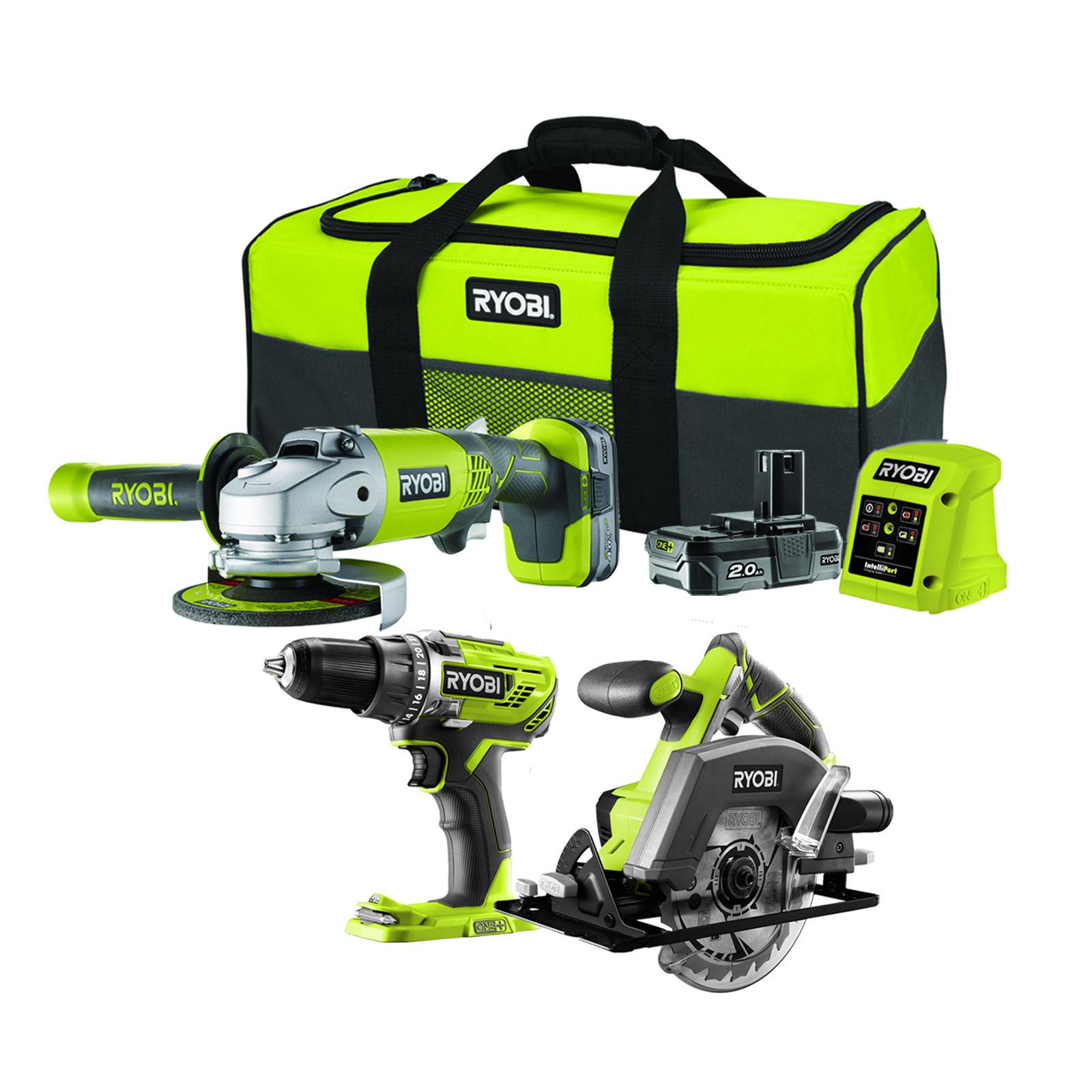 Ryobi R18PDAGCS-242S 18V ONE+ Cordless Combi Drill, Circular Saw & Angle Grinder Starter Kit - £169.15 delivered @ Homebase