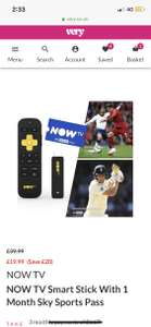 1 month sports pass + Now Tv stick £19.99 @ Very