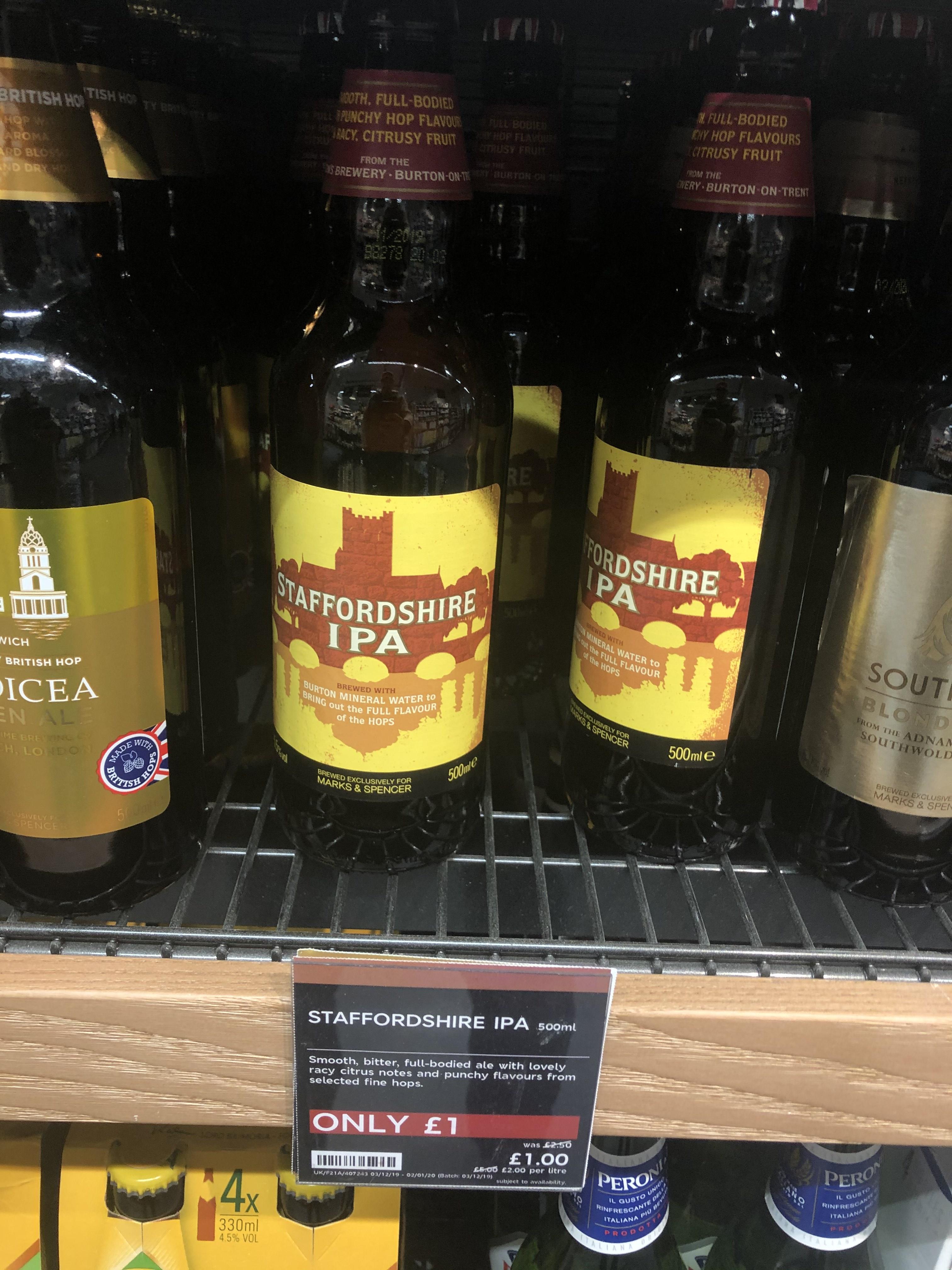 M&S Staffordshire IPA 500ml Bottle £1 @ Greenford M&S food hall.