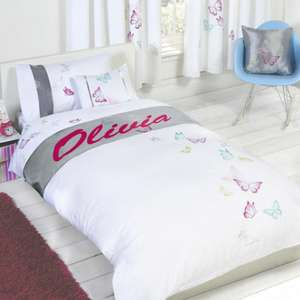 Girls Personalised Butterfly Duvet Cover Sets - Single £4.98 / Double - £5.98 Delivered @ Onlinehomeshop