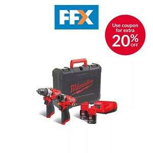 Milwaukee 12v 2x2AH M12 FUEL Twin Kit - Brushless Percussion Drill + Impact Driver £219.20 @ FFX Ebay
