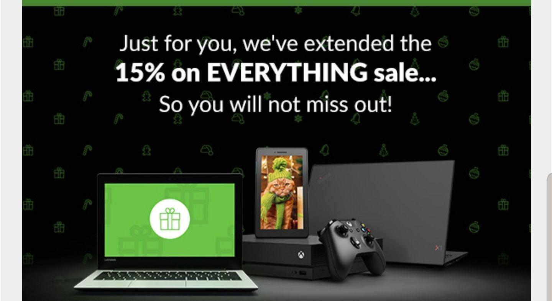 15% off everything at Lenovo UK