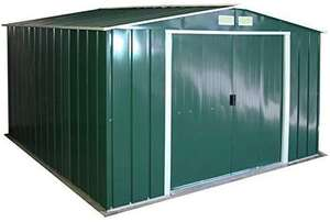 Duramax ECO 10' x 10' Hot-Dipped Galvanized Metal Garden Shed - Green with Off-White Trimmings - 15 Years Warranty £309.99 at Amazon