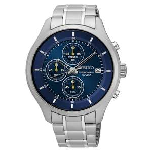 Seiko Men's Blue Chronograph Stainless Steel Watch reduced to £76.49 delivered @ H Samuel