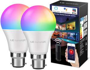 2x Smart LED Bulbs (60W equivalent and bayonets) - £19.19 Prime / +£4.49 non Prime - Sold by NEON Mart and Fulfilled by Amazon