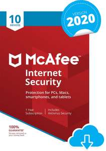 McAfee Internet Security 2020 | 10 Devices | 1 Year | PC/Mac/Android/Smartphones | Download Code for £8.99 @ Amazon UK