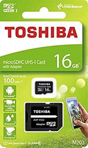 Toshiba 16GB M203 MicroSD Class 10 U1 100MB/s with Adapter, Black, for £2.75, at Amazon add on item (£20 spend), or £2.75 (and no £20 spend)