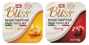 Muller Bliss Creamy Mascarpone, Peach & Apricot or Mascarpone Cherry Yogurt 4 x 110g for £1 @ Morrisons