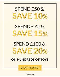 Spend £50 save 10%, Spend £75 save 15% or Spend £100 and save 20% on Toys @ George / Asda