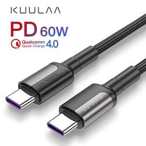 KUULAA USB Type C to USB Type C Cable from £0.78 delivered @ AliExpress kuulaa Official Store