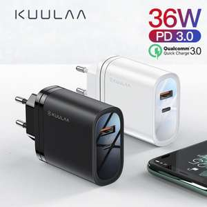 KUULAA 36W USB Charger Quick Charge 4.0 PD 3.0 Fast Charger US EU Plug Adapter Supercharger £3.15 Store kuulaa Official Store / AliExpress