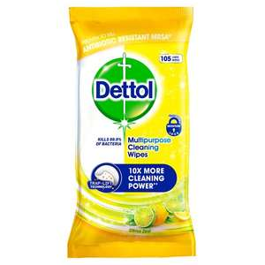 Dettol Multi Purpose Citrus Wipes 105S Now £2.50 @ Tesco