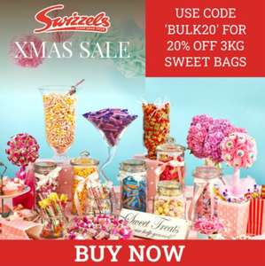 20% off All 3Kg Bulk Bags of Sweets £10.39 with Code £12.73 Delivered @ Swizzels