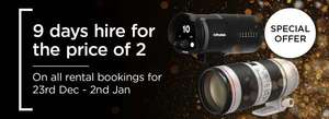 9 days of photography kit hire for the price of two including Canon, Nikon and Sony cameras and lenses.