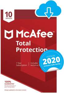 McAfee Total Protection 2020 | 10 Devices | 1 Year | PC/Mac/Android/Smartphones | Download Code £12.99 @ Amazon