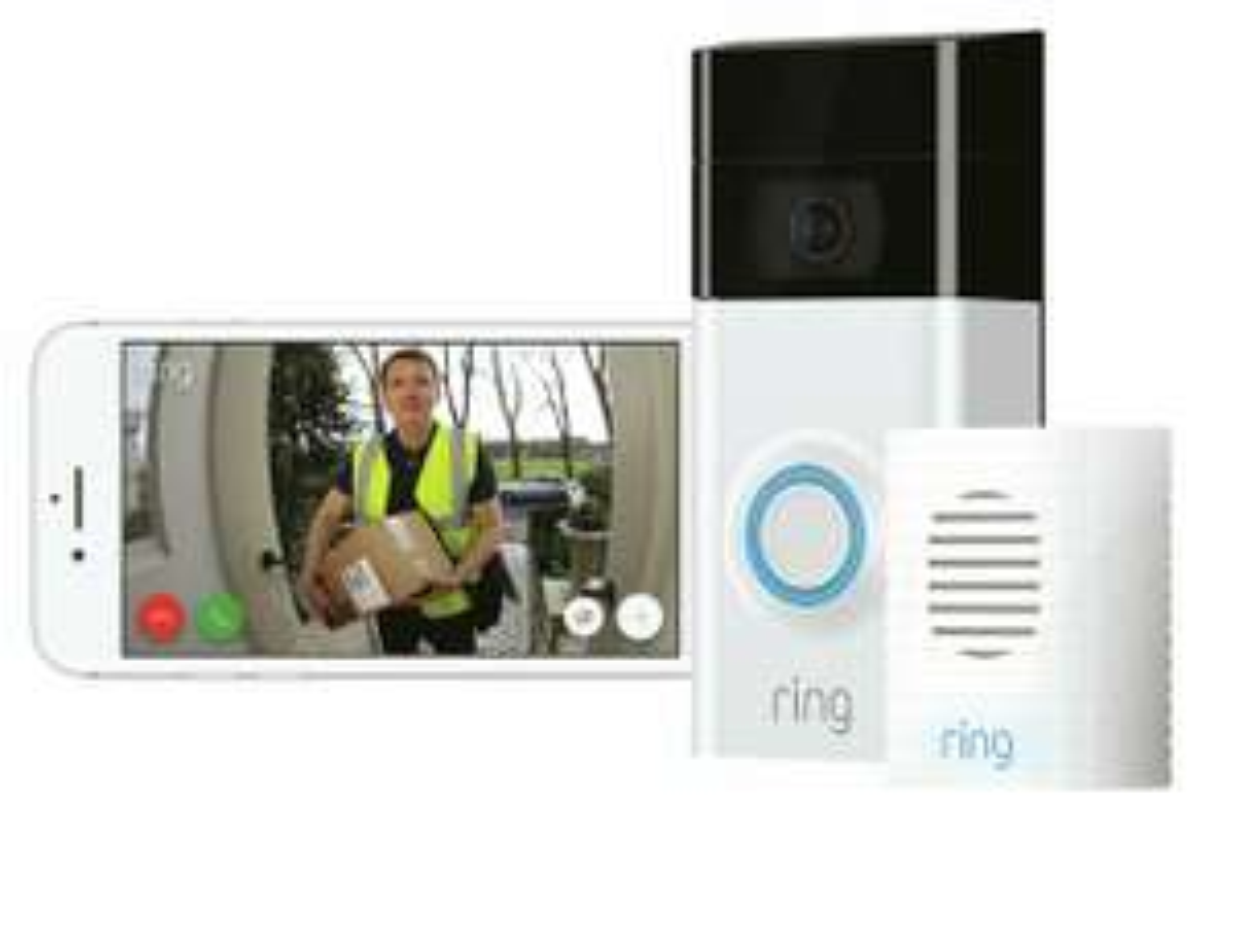 Ring Full HD 1080p Video Doorbell 2 and Chime Bundle - White / Black £111.60 @ Argos eBay