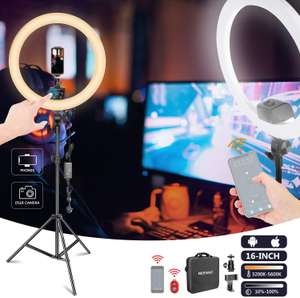"""Neewer App Controlled 16"""" Ring Light With Stand, Remote, Phone Holder, Bag & More £38.49 Sold by Nashes Camspace and Fulfilled by Amazon"""