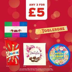 Any 3 For £5 on Frys Collection, Toblerone, Dairy Box, Medium Selection Box, Celebrations, Squashies, Heroes @ One Stop