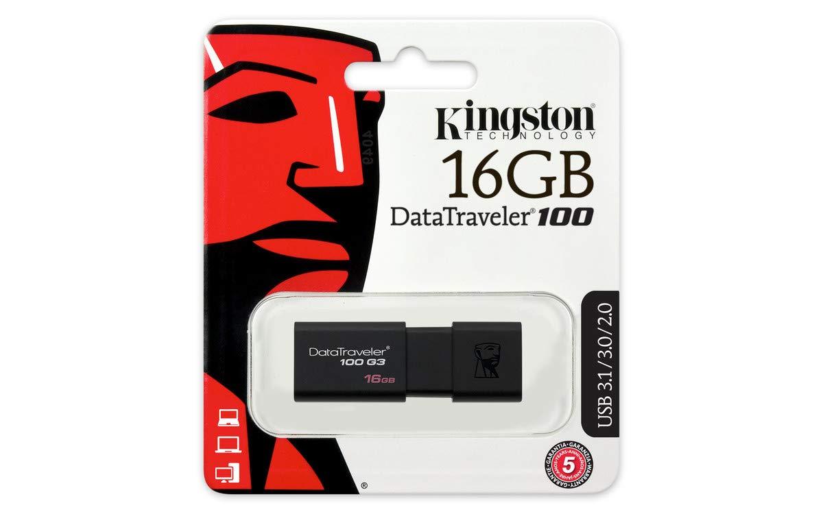 Kingston DT100G3 16GB USB 3.1/3.0/2.0 Flash Drive, £2.79 (Prime) £7.28 (Non Prime) @ Amazon