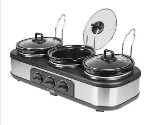 Tower 3-Pot Slow Cooker and Buffet Server - Stainless Steel £24.99 @ Robert Dyas C&C
