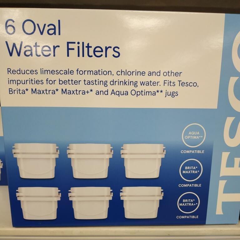 Tesco 6 Oval water filter cartridges 30 days compatible brita maxtra aqua optima £12 Tesco instore