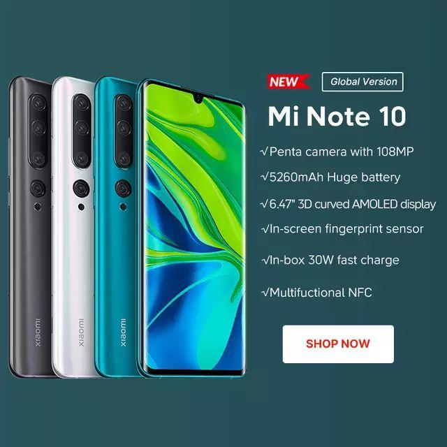 Xiaomi Mi Note 10 Global Version 6GB 128GB Smartphone 108MP Penta Camera £329.90 @ Xiaomi Official Store/Aliexpress