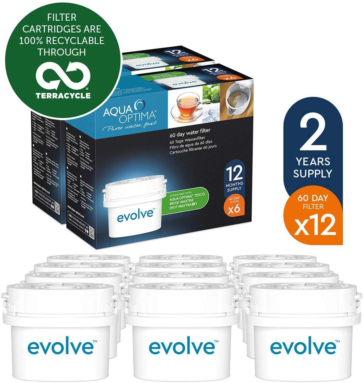 Aqua Optima Evolve 2 year pack, 12 x 60 day water filters - Fit BRITA Maxtra (not Maxtra+) - EVD912 - £21.81 @ Amazon