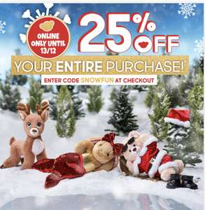 25% off your order until 13/12 at Build-a-Bear (exclusions apply)