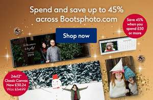 Up to 45% off at Boots Photos when you spend £50 or more