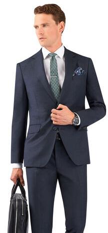 Manzoni Slim Fit Suit in Navy Grid Zegna Wool - £199 @ TM Lewin