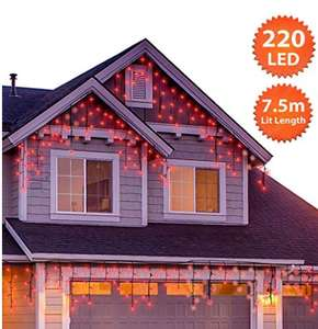 Christmas Icicle Lights Outdoor 220 LED 7.5m/24ft Lit Length Red LED Fairy Lights - Sold by ANSIO Direct / FBA - £9.97 Prime (+£4.49 NP)
