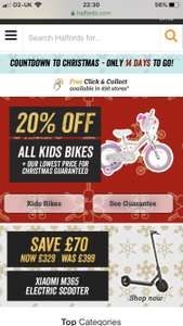Extra 20% discount on bikes and scooters at Halfords