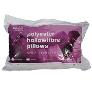 4 x Value Range Polypropylene Hollowfibre Anti-Allergy Pillows - £9.44 delivered @ Linens Limited