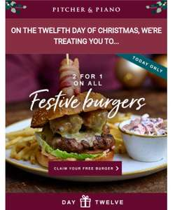 Two Burger for the price of one @ Pitcher & Piano
