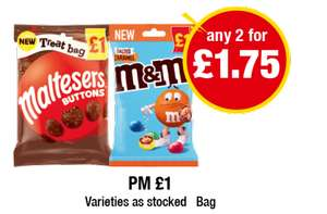 Maltesers Buttons / M&M's Salted Caramel Treat Bags Any 2 For £1.75 @ Premier Stores