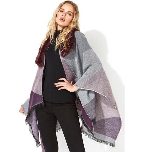 Purple One Size Faux Fur Check Shawl (was £30) Now £9.60 delivered @ Roman Originals