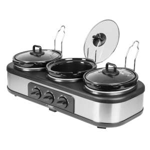 Tower 3-Pot Slow Cooker and Buffet Server - Stainless Steel £21.24 @ Robert Dyas (Free Click & Collect)